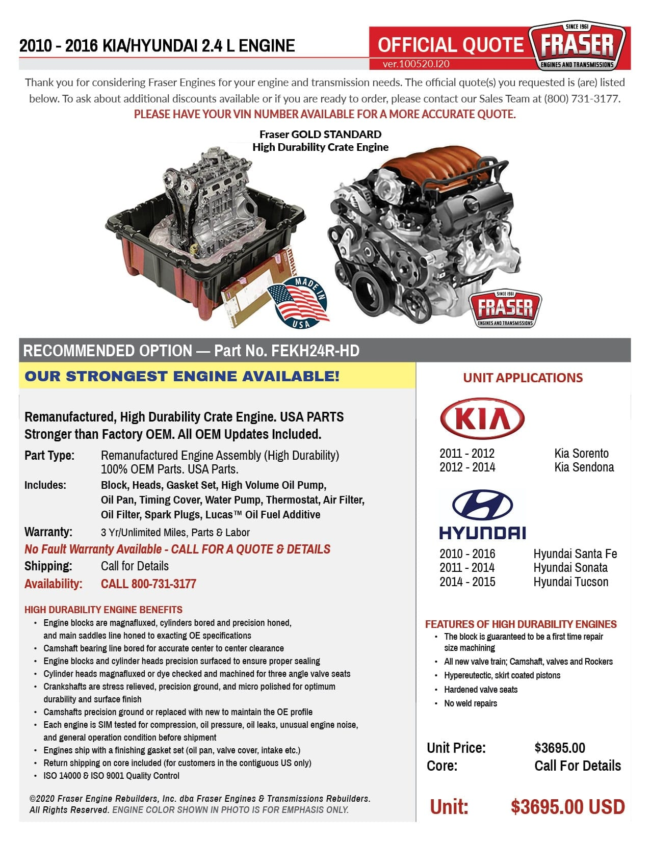 2010 - 2016 Kia/Hyundai 2.4 Liter Engines