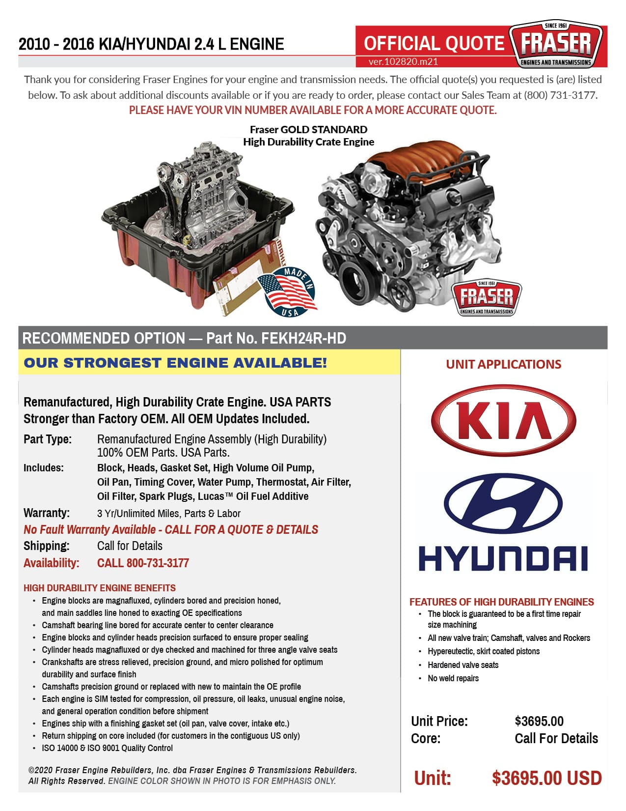 2010 - 2016 Kia Hyundai 2.4 Liter Engines