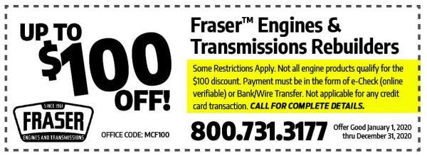 100 Off Coupon Fraser Engines
